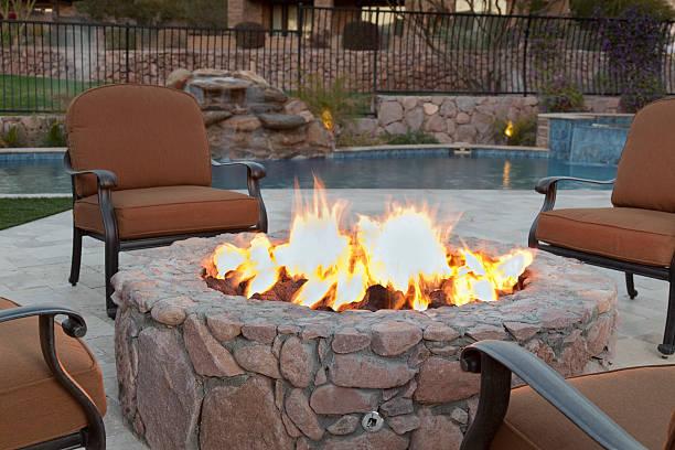 Backyard Fireplace stock photo