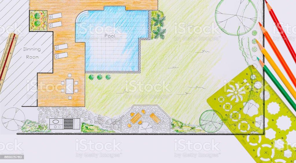 Photo libre de droit de Jardin Et Piscine Design Plan De ...