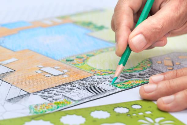 przydomowy ogród i plan projektowania basenu dla willi. - staw woda stojąca zdjęcia i obrazy z banku zdjęć