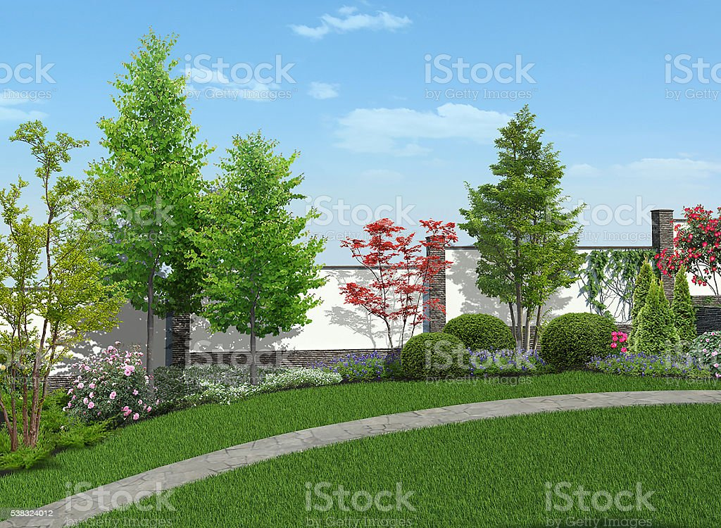 Backyard Horticultural Background, 3d Render Royalty Free Stock Photo