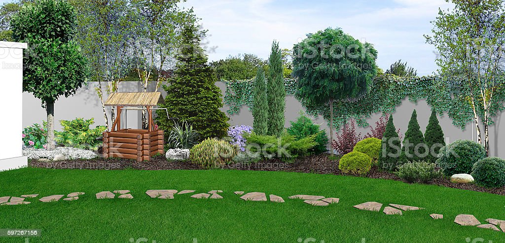Backyard horticultural background, 3d render royalty-free stock photo