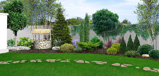 Innenhof-Garten-Hintergrund, 3D render – Foto