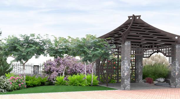 Patio horticultura fondo, 3D render - foto de stock