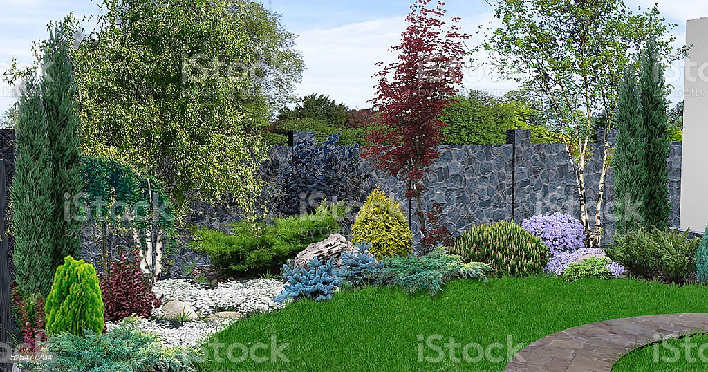 Innenhof-Garten-Hintergrund, 3d-Abbildung – Foto