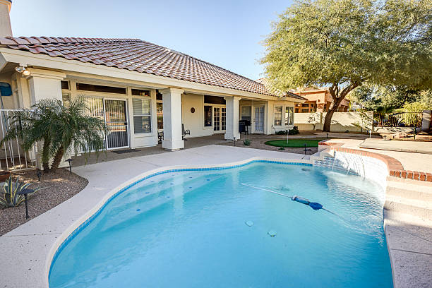 Backyard in Arizona with pool stock photo
