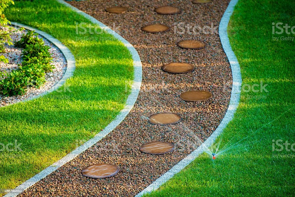 Backyard Lawn Sprinkler stock photo