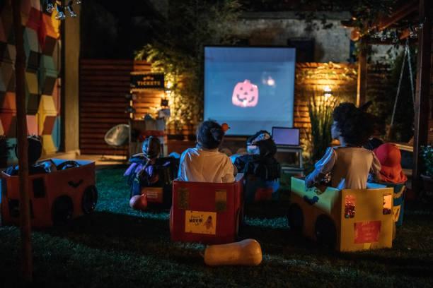 Backyard movie night stock photo