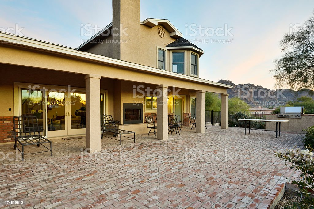 A backyard of a home in the desert stock photo