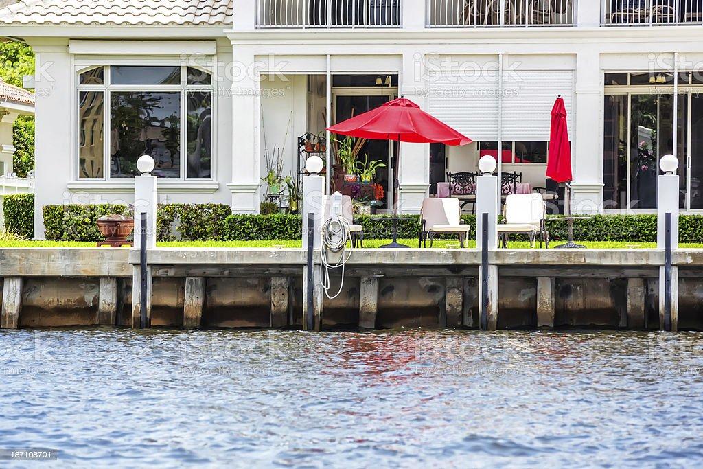 Backyard of tropical home stock photo