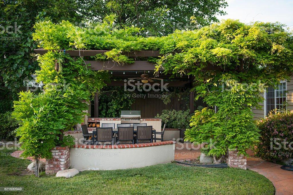 Backyard Pergola with Climbing Wisteria stock photo