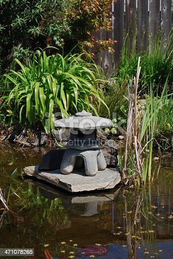 Koi pond in a backyard garden