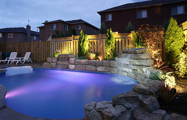 Backyard Pool at night stock photo