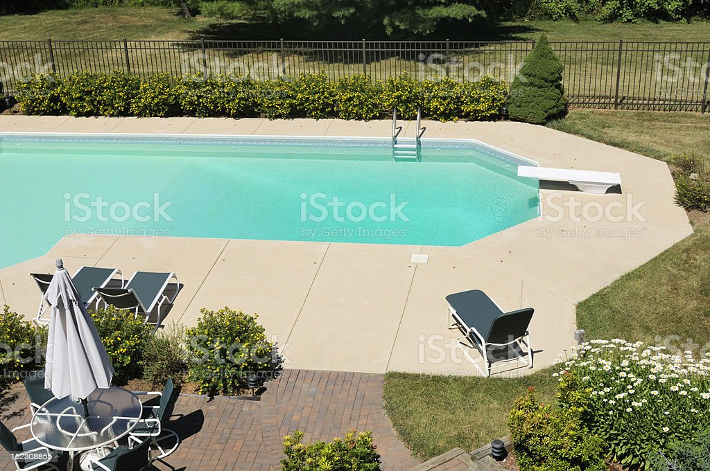 View from above of backyard pool surrounded by nice landscaping.