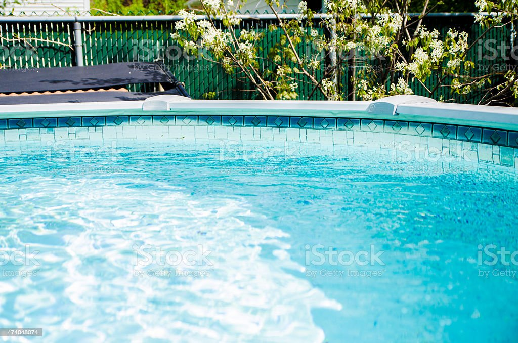 Backyard pool stock photo