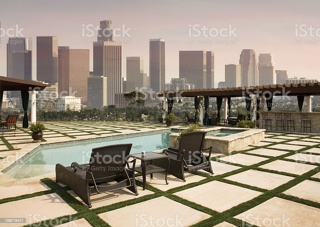 Backyard Pool With View Of Downtown Los Angeles Skyline Stock Photo