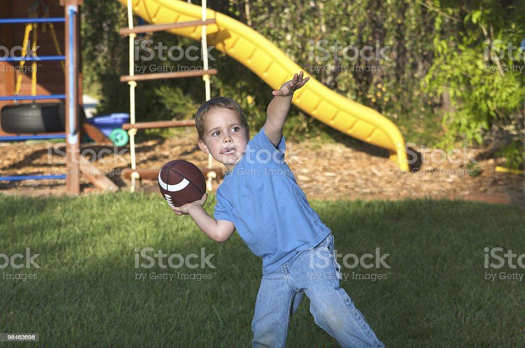 Backyard Quarterback royalty-free stock photo