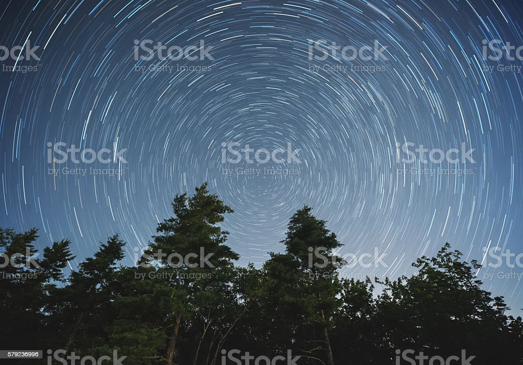 Backyard Star Trails stock photo