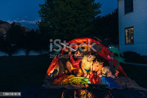 A dad with his two sons camp out in the backyard of their home due to the coronavirus restrictions and quarantine. They have pitched a tent and created a beach scene with stuffed animal friends and have a fake campfire. They are searching the twilight for the stars in the sky.