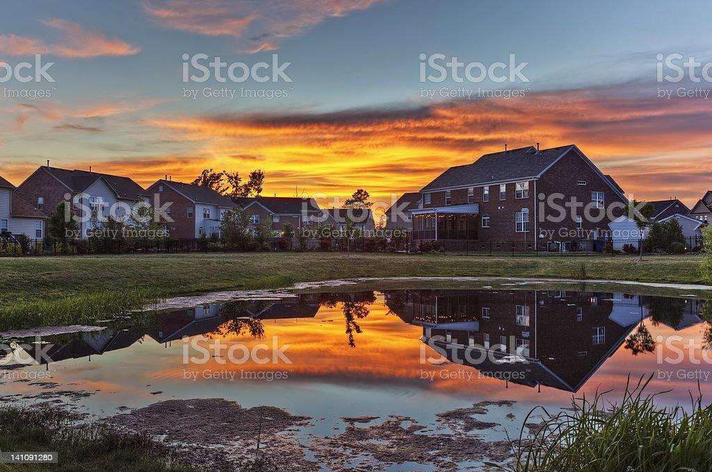 Backyard Sunset stock photo
