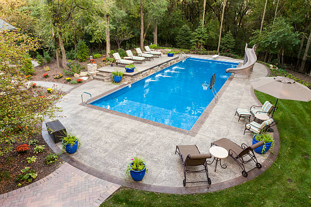 Backyard Swimming Pool Large swimming pool and patio in a secluded back yard. backyard pool stock pictures, royalty-free photos & images