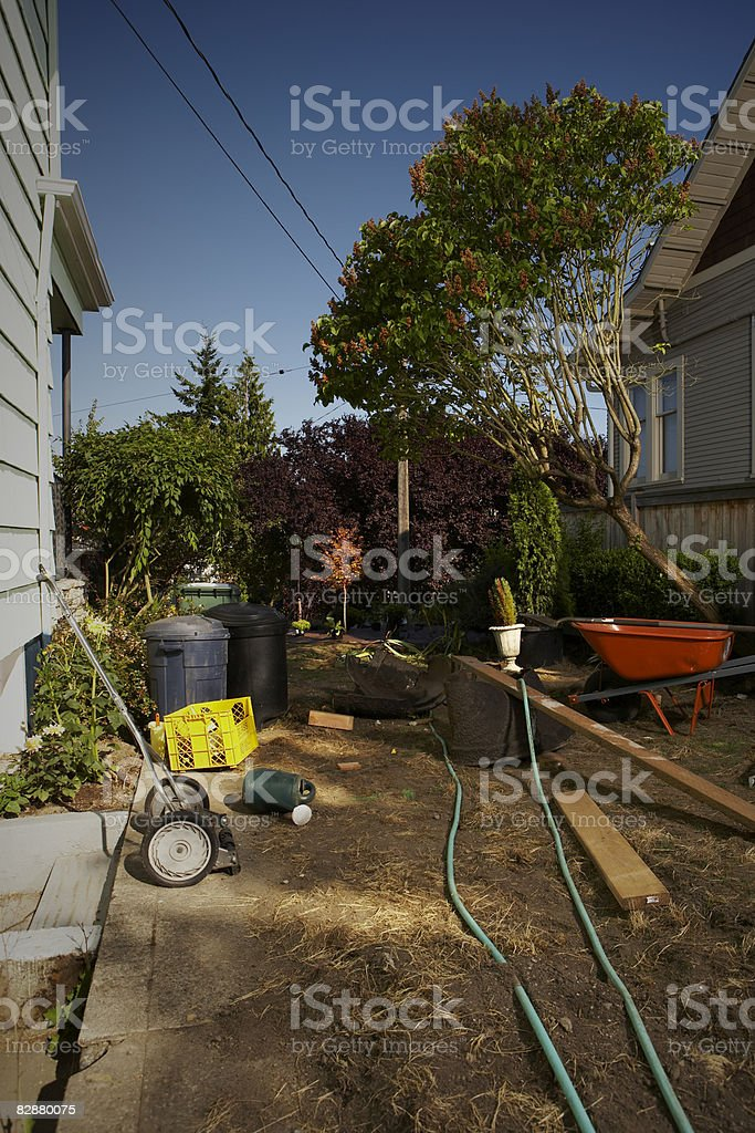 Backyard under construction royalty free stockfoto