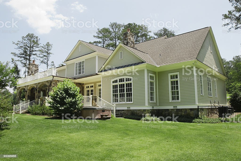Backyard view of a large house in a residential suburb stock photo