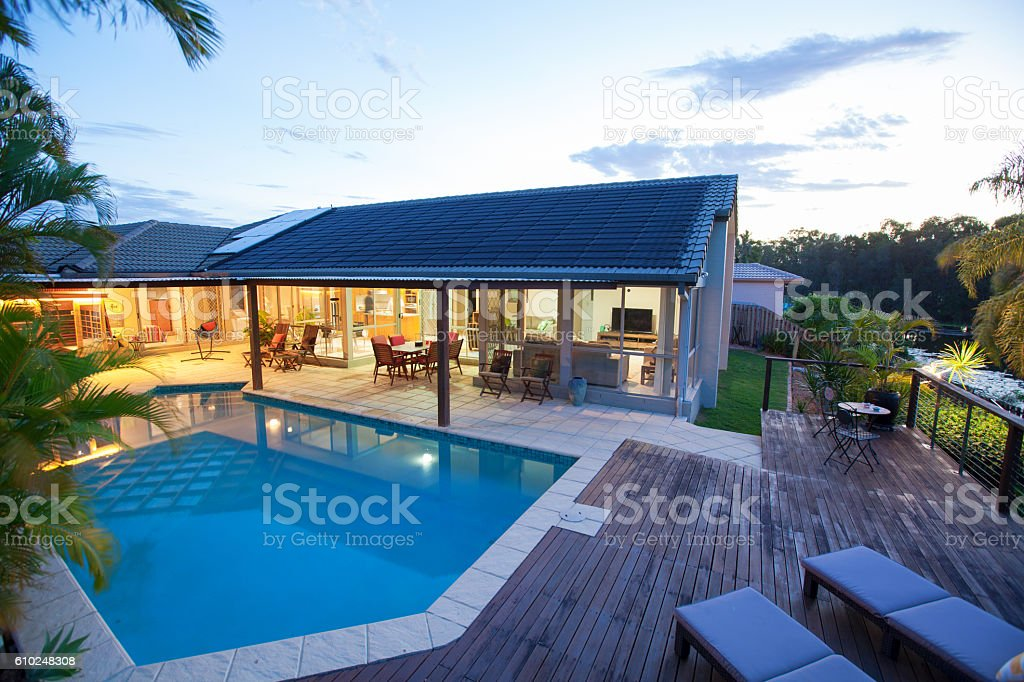 Backyard with swimming pool stock photo