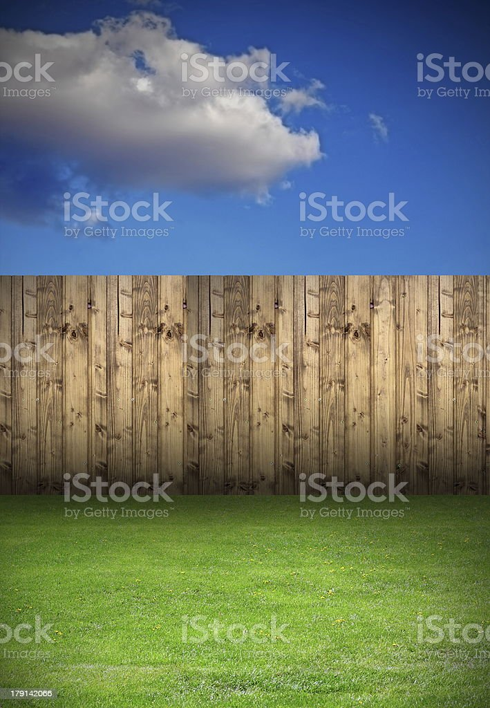 backyard with wooden fence royalty-free stock photo