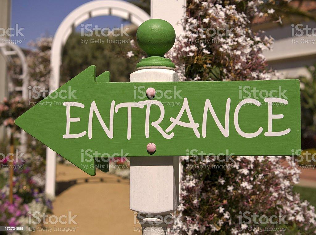 Backyard wood ornamental flower garden yard entrance sign.