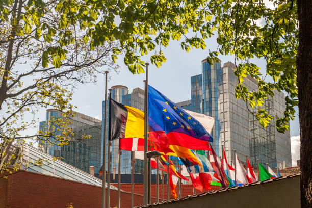 Bacl-lit flags of European Union Member states with in the background the European Parliament in Brussels stock photo