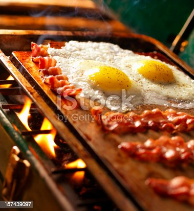 istock Bacon & Eggs on Old Camp Stove 157439097