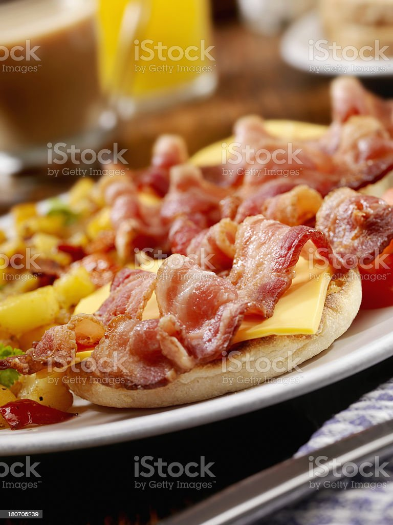 Bacon and Cheese Breakfast Sandwich royalty-free stock photo