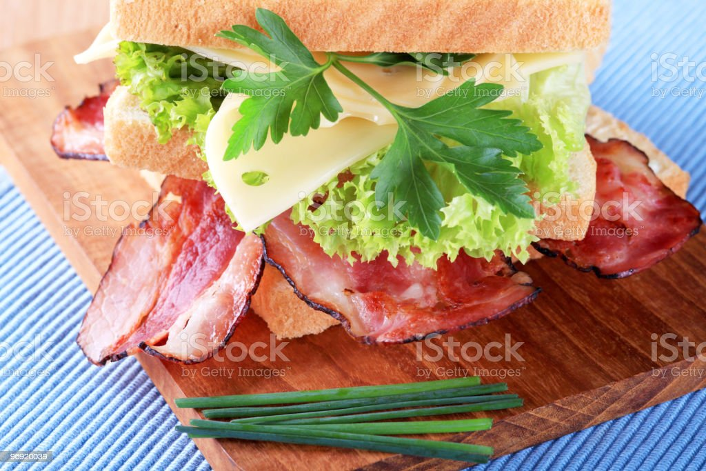 Bacon and cheese sandwich royalty-free stock photo