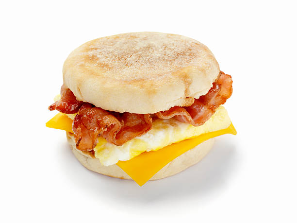 bacon and egg breakfast sandwich - cheese sandwich bildbanksfoton och bilder