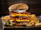 Bacon and Egg Double Cheeseburger with Fries