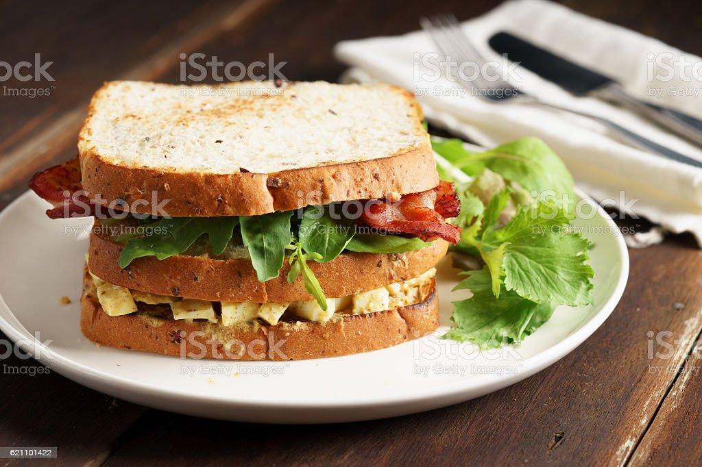 Bacon and Egg Salad Sandwich stock photo