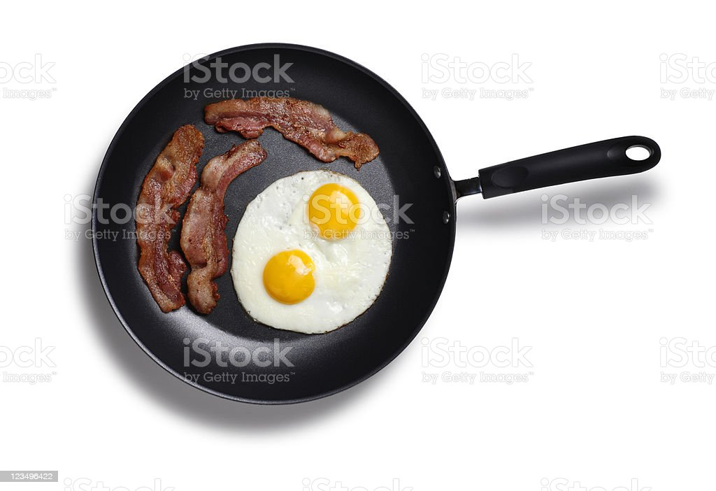 Bacon and eggs in a frying pan stock photo