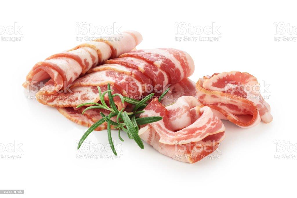 Bacon and rosemary isolated on white background stock photo