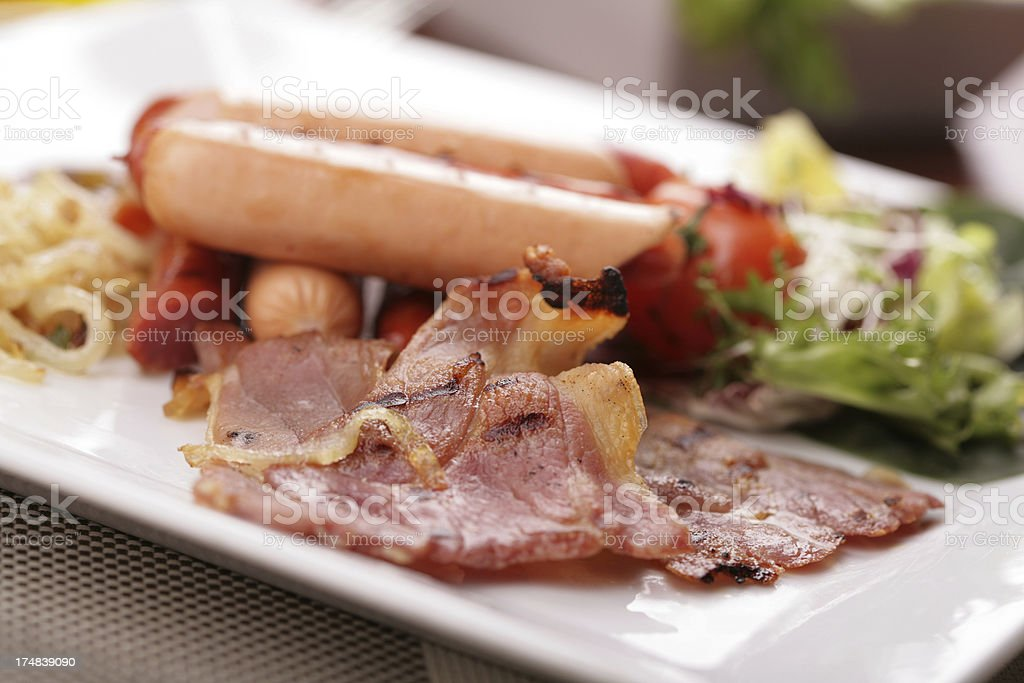 bacon and sausage breakfast royalty-free stock photo