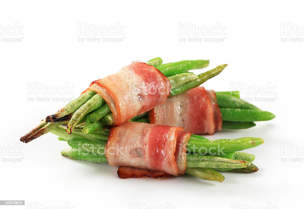 Bacon beans wraps stock photo