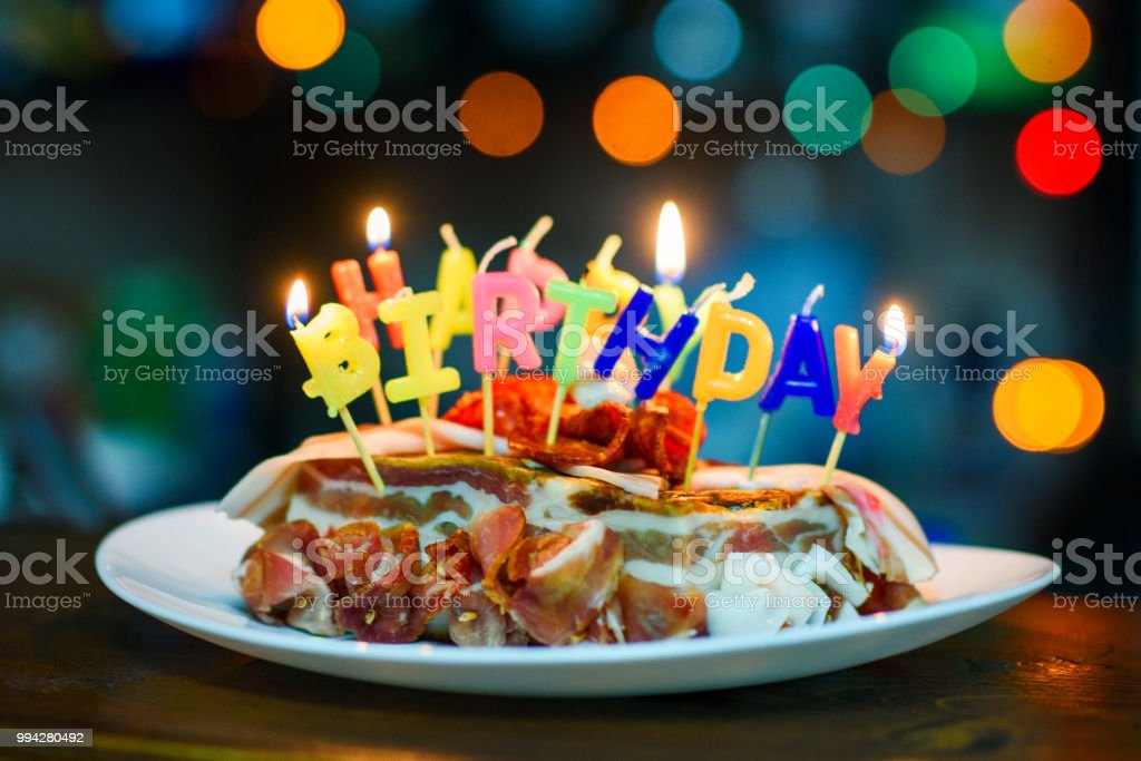 Enjoyable Bacon Birthday Cake Stock Photo Download Image Now Istock Funny Birthday Cards Online Aboleapandamsfinfo