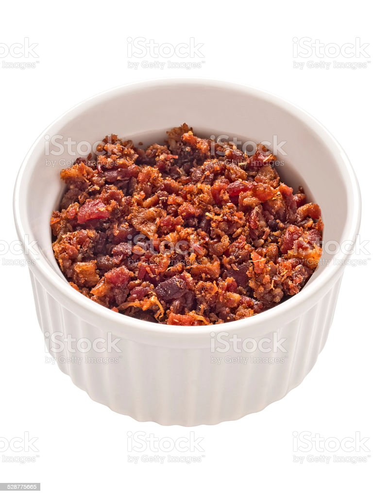 bacon bits isolated stock photo