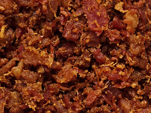 bacon bits texture background - horse bit stock pictures, royalty-free photos & images