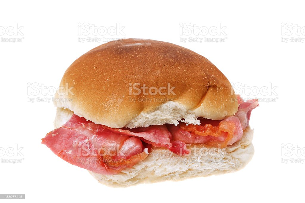 Bacon bread roll sandwich stock photo