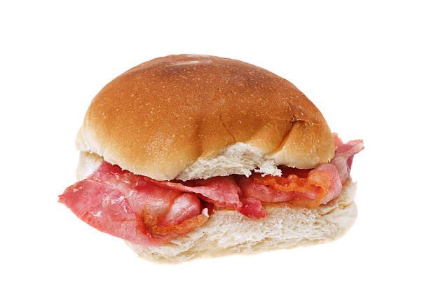 Bacon bread roll sandwich stock photo