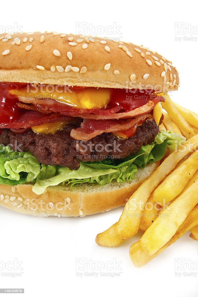 Bacon Cheese burger and fries royalty-free stock photo