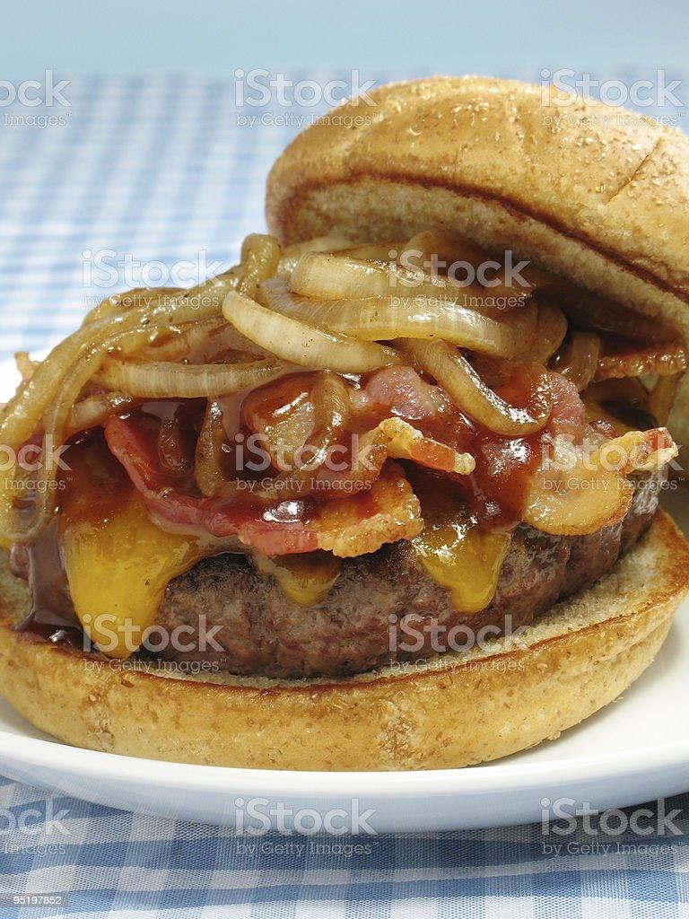 Bacon Cheeseburger With BBQ Sauce stock photo