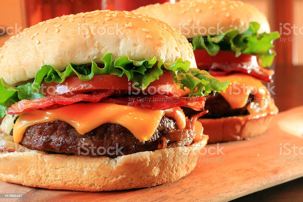 Bacon cheeseburgers stock photo