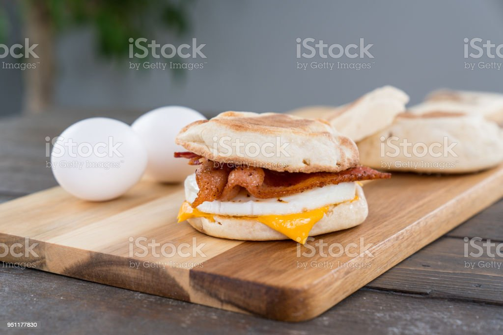 Bacon, Egg and Cheese Breakfast Sandwich stock photo