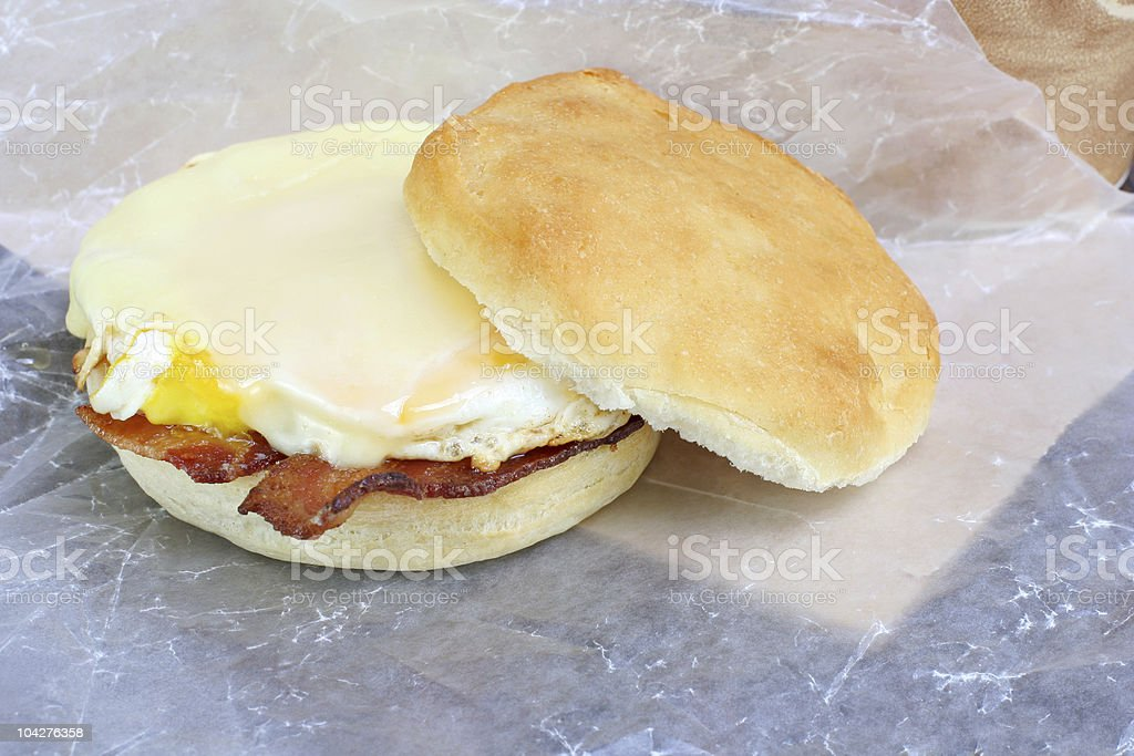 Bacon, egg and cheese sandwich on a muffin. royalty-free stock photo